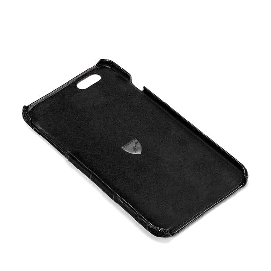 iPhone 7 Plus Leather Cover in Deep Shine Black Croc & Black Suede from Aspinal of London