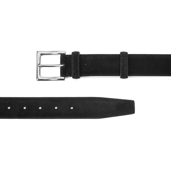 Men's Chelsea Suede Belt in Black Suede from Aspinal of London