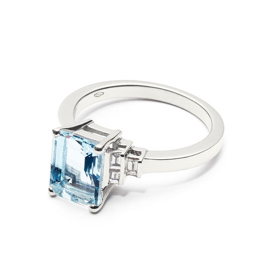 Iris 18ct White Gold Aquamarine & Diamond Ring from Aspinal of London