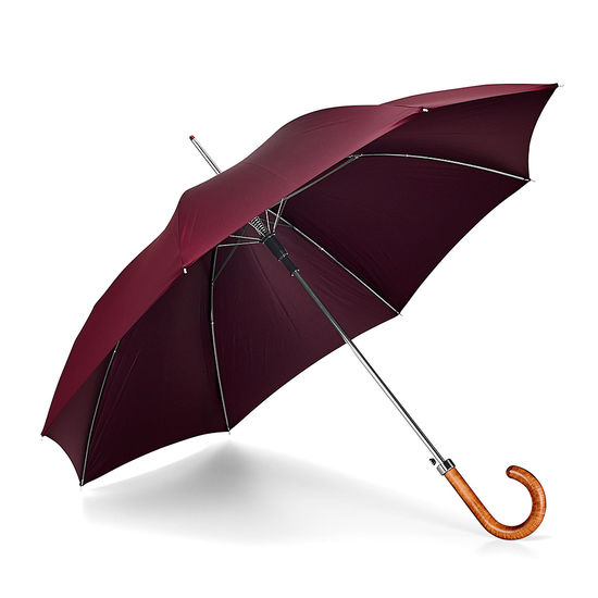 Walking Length Automatic Umbrella with Maple Wood Handle in Burgundy from Aspinal of London