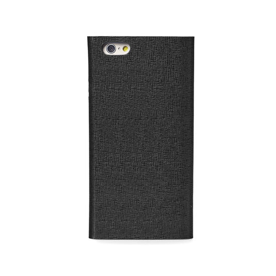 iPhone 7 Plus Leather Book Case in Black Saffiano & Black Suede from Aspinal of London