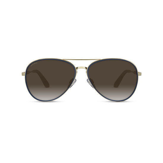 Portofino Sunglasses (Gold Metal & Blue Acetate) from Aspinal of London