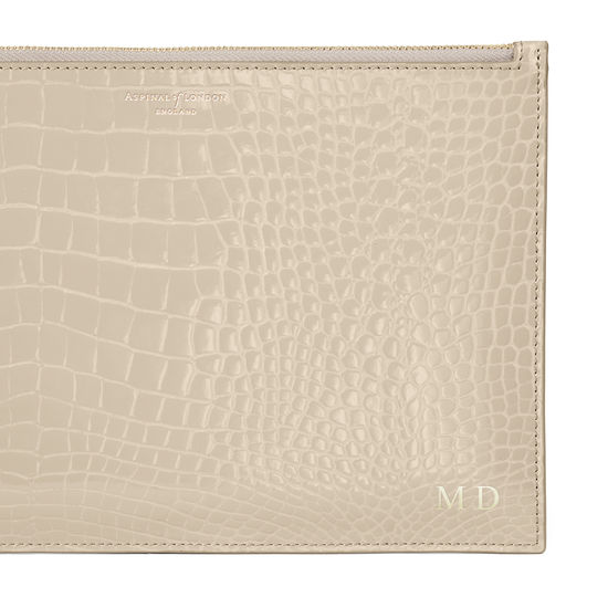 Large Essential Flat Pouch in Soft Taupe Patent Croc from Aspinal of London