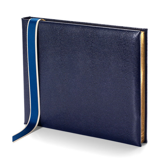 Lizard Print Guest Book in Midnight Blue Lizard from Aspinal of London