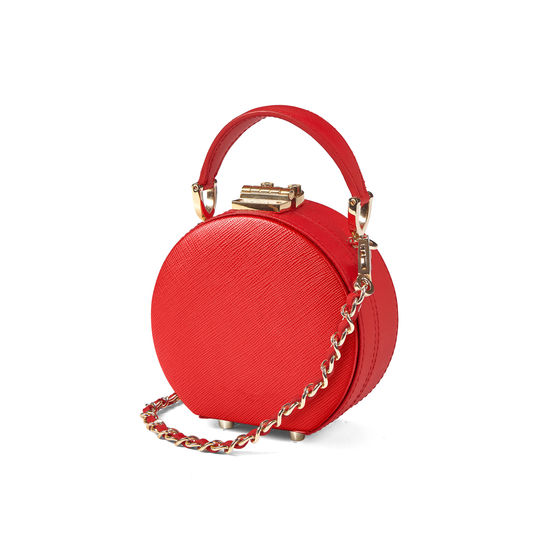 Micro Hat Box in Scarlet Saffiano from Aspinal of London