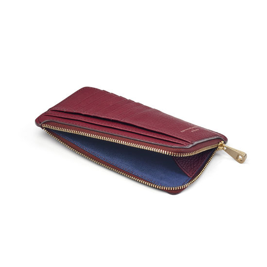 Large Zipped Coin Purse in Bordeaux Pebble from Aspinal of London