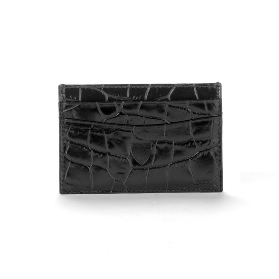 Slim Credit Card Case in Deep Shine Black Croc & Cobalt Suede from Aspinal of London