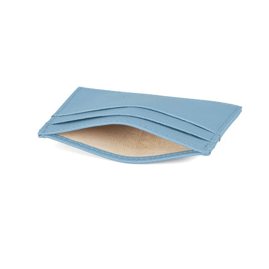 Slim Credit Card Case in Bluebird Saffiano from Aspinal of London