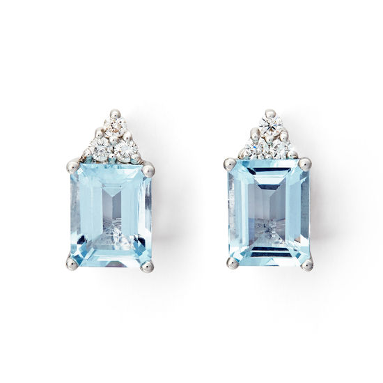 Iris 18ct White Gold Aquamarine & Diamond Stud Earrings from Aspinal of London