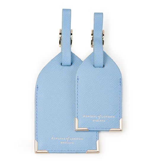 Set of 2 Luggage Tags in Bluebird Saffiano from Aspinal of London
