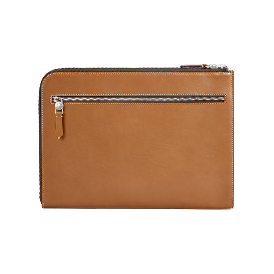 Aerodrome Zip Folio in Smooth Tan from Aspinal of London