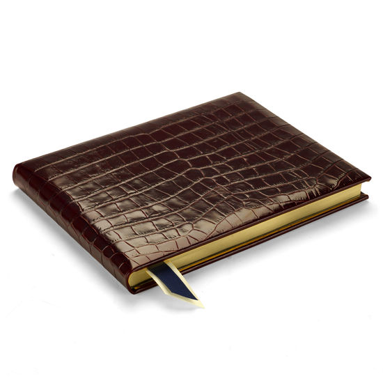 Safari Croc Guest Book in Deep Shine Amazon Brown Croc from Aspinal of London