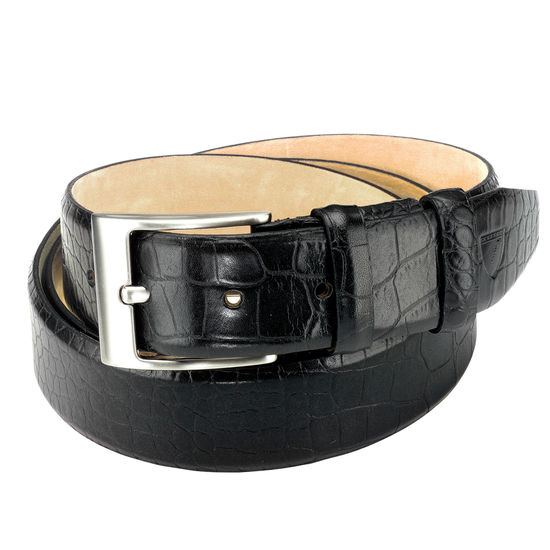 Classic Men's Belt in Deep Shine Black Croc from Aspinal of London