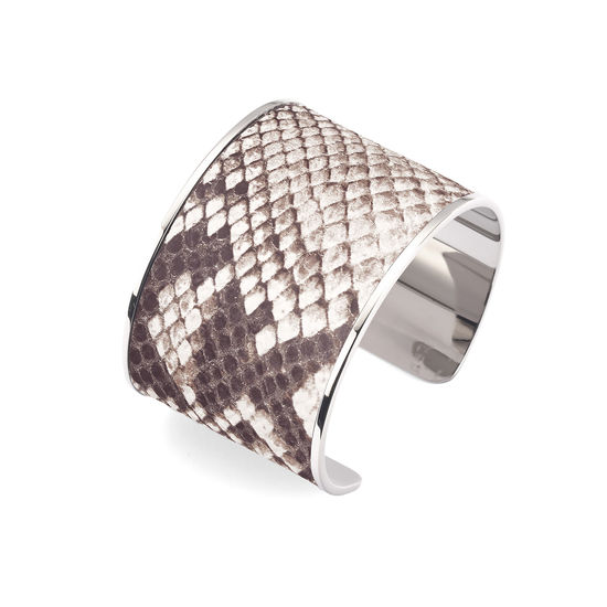 Silver Cleopatra Cuff Bracelet in Embossed Natural Python Print from Aspinal of London