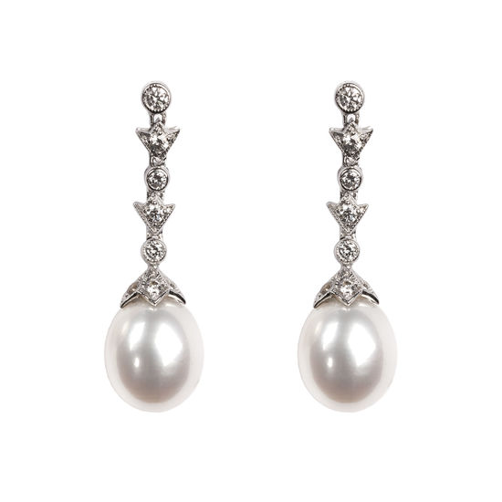 Victoriana Diamond & Pearl Drop Earrings from Aspinal of London