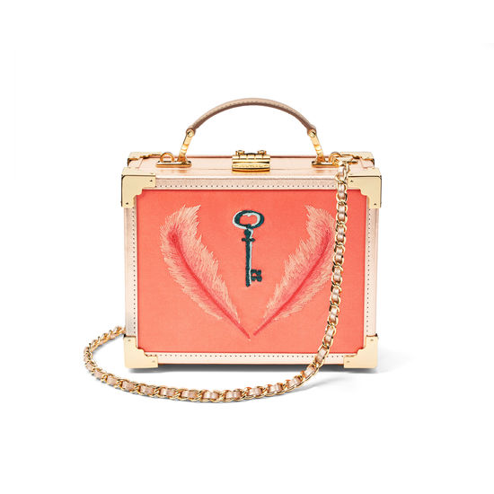 Giles x Aspinal (Mini Trunk - Coral Satin) from Aspinal of London