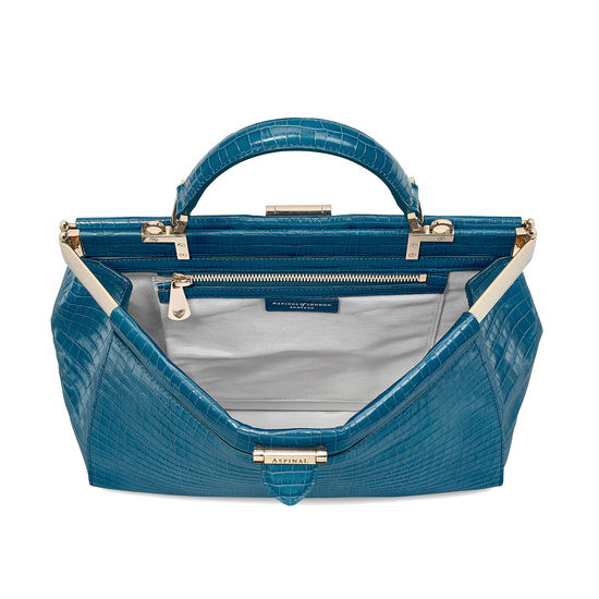 Large Florence Frame Bag in Deep Shine Topaz Small Croc from Aspinal of London