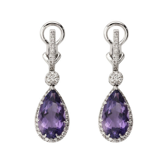 Hollywood Teardrop Amethyst & Diamond Earrings from Aspinal of London
