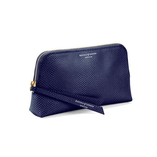 Small Essential Cosmetic Case in Midnight Blue Lizard from Aspinal of London