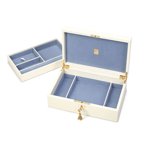 Savoy Jewellery Box in Deep Shine Ivory Small Croc from Aspinal of London