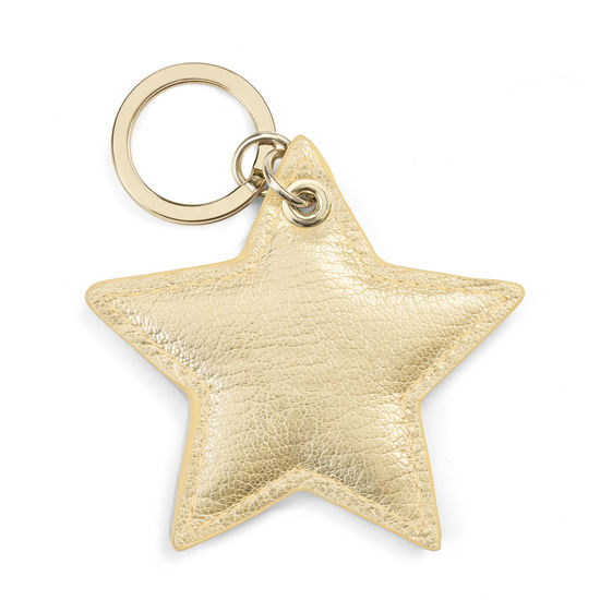 Star Keyring in Pale Gold Pebble from Aspinal of London
