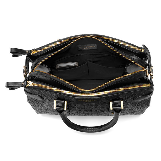 Brook Street Bag in Black Embossed Flower from Aspinal of London