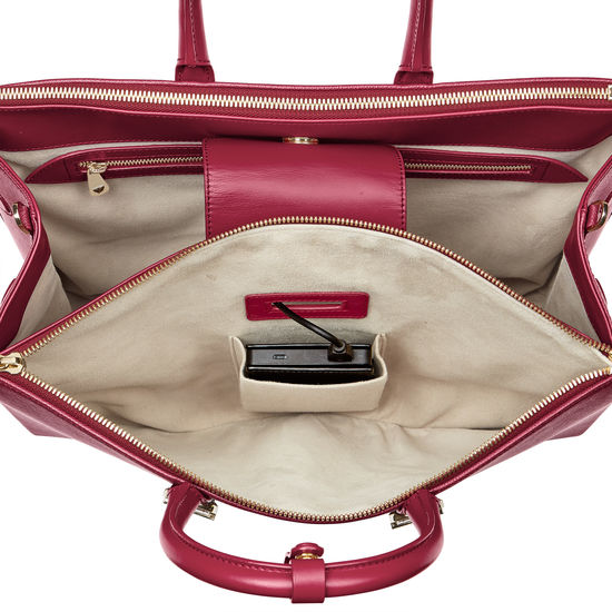 Madison Tote in Cranberry Saffiano from Aspinal of London