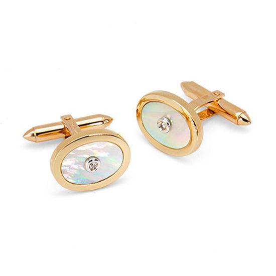 Round Mother of Pearl Cufflinks Gemset with Brilliant Cut Diamonds in 9ct Yellow Gold from Aspinal of London