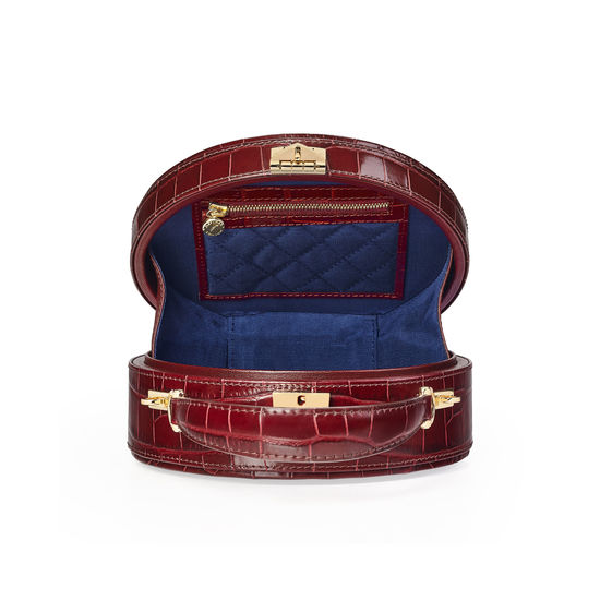 Hat Box in Deep Shine Bordeaux Croc from Aspinal of London