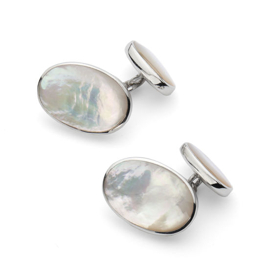 Oval Sterling Silver & Mother of Pearl Cufflinks from Aspinal of London