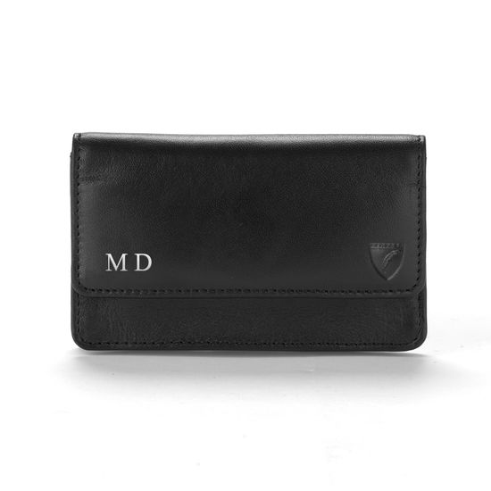 Business & Credit Card Case in Black Saffiano & Black Suede from Aspinal of London