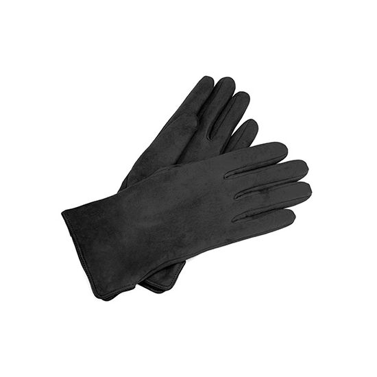 Ladies' Sheepskin Lined Suede Gloves in Black Suede from Aspinal of London