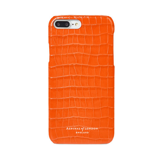 iPhone 7 Plus Leather Cover in Deep Shine Amber Small Croc from Aspinal of London