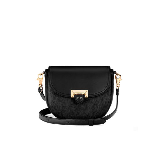 Portobello Bag in Black Pebble from Aspinal of London