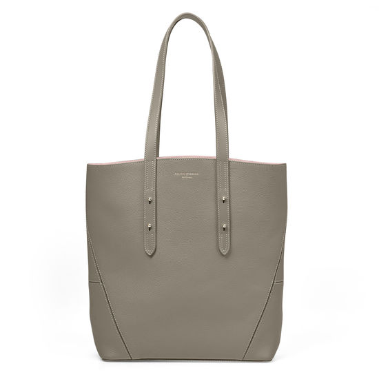 Essential Tote in Warm Grey Pebble (with A-Stitched Side Panels) from Aspinal of London