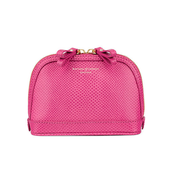 Small Hepburn Cosmetic Case in Raspberry Lizard from Aspinal of London