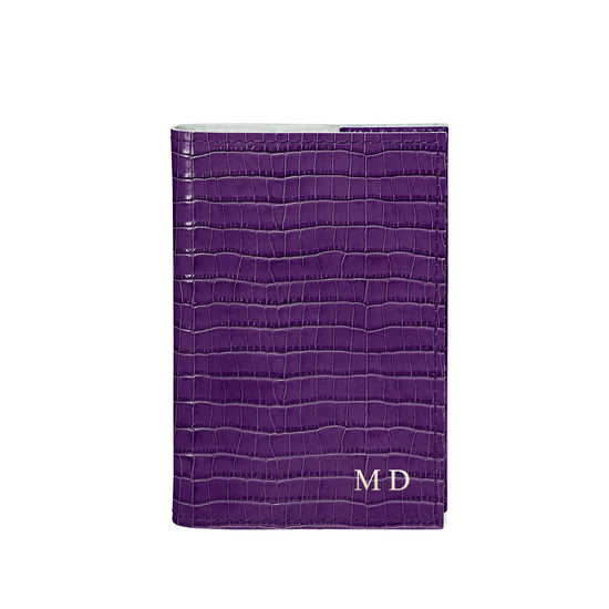 Refillable Pocket Notebook in Deep Shine Amethyst Small Croc from Aspinal of London