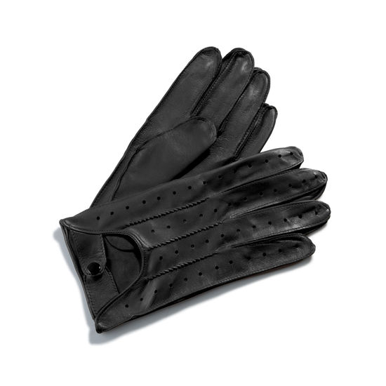 Men's Leather Driving Gloves in Black from Aspinal of London