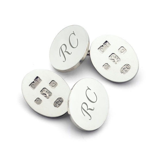 Classic Hallmarked Sterling Silver Cufflinks from Aspinal of London