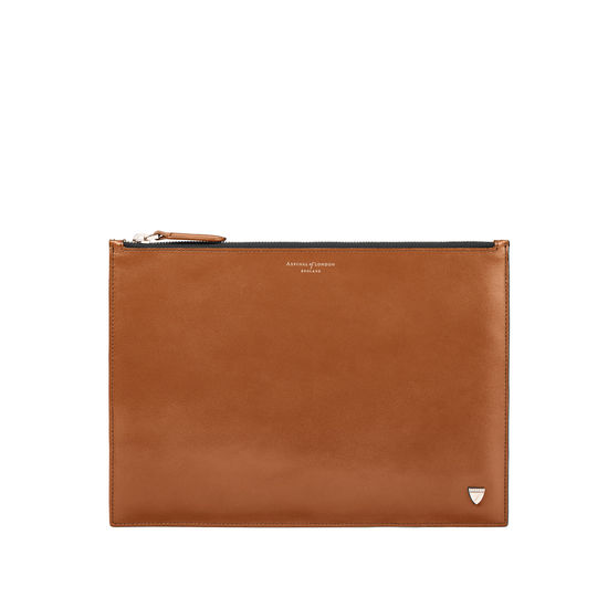 Mount Street Flat Pouch in Smooth Tan from Aspinal of London