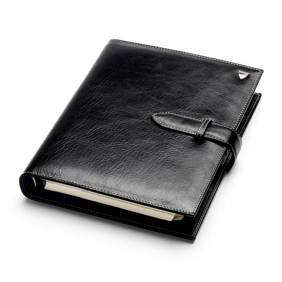 Large Executive Organiser in Smooth Black from Aspinal of London