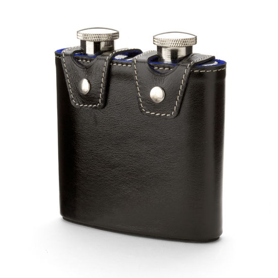 Double 6oz Leather Hip Flask in Smooth Black & Cobalt Suede from Aspinal of London