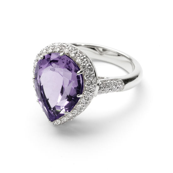 Hollywood Teardrop Amethyst & Diamond Ring from Aspinal of London