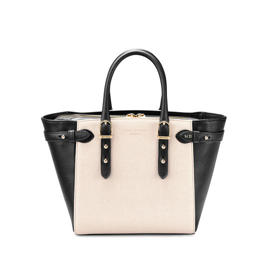Mini Marylebone Tote in Monochrome Saffiano from Aspinal of London