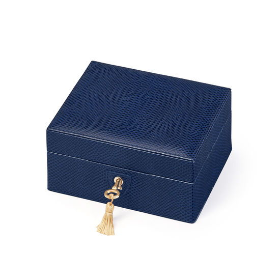 Bijou Jewellery Box in Midnight Blue Lizard from Aspinal of London