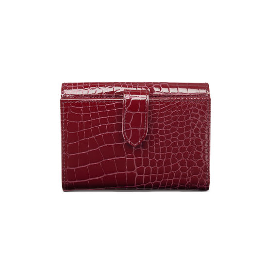 Small Mayfair Purse in Bordeaux Patent Croc from Aspinal of London