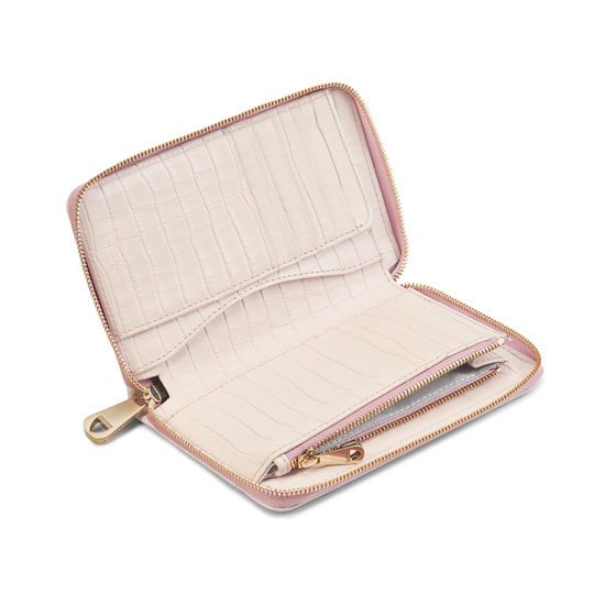 Midi Continental Clutch Zip Wallet in Deep Shine Shell Pink Small Croc from Aspinal of London