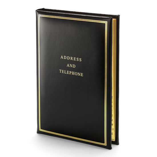 Classic Large Address Book in Smooth Black from Aspinal of London