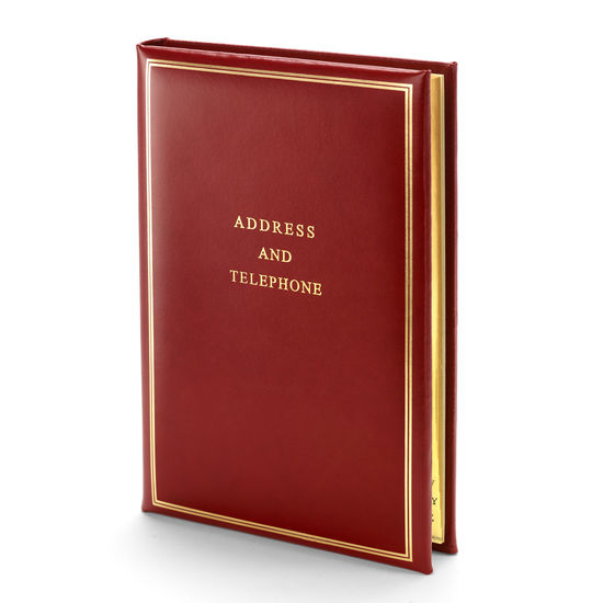 Classic Large Address Book in Smooth Red from Aspinal of London