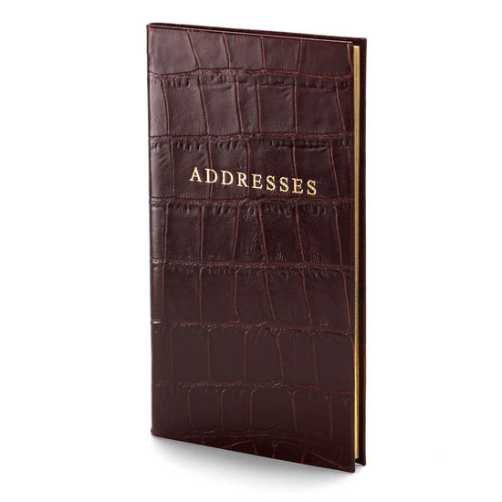Slim Pocket Address Book in Deep Shine Amazon Brown Croc from Aspinal of London